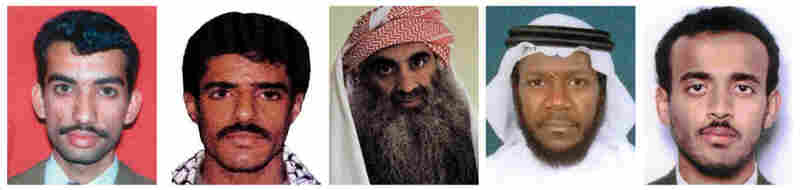 This combination of undated photos shows, from left: Ali Aziz Ali, Walid bin Attash, Khalid Sheikh Mohammed, Mustafa al-Hawsawi and Ramzi bin al-Shibh, the alleged co-conspirators in the Sept. 11 attacks.