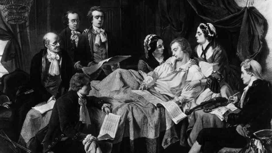 A 1791 painting of Wolfgang Amadeus Mozart on his deathbed, surrounded by his wife and friends.