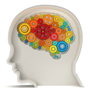 A brain made from colored gears appears inside a gray human head.