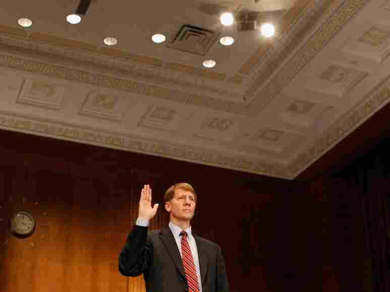 Richard Cordray is sworn in at the beginning of his confirmation hearing before the Senate Banking, Housing and Urban Affairs Committee on Sept 6, 2011. Former Ohio Attorney General Cordray has been nominated by President Barack Obama t