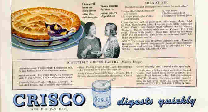 "Crisco pie recipes from a 1934 issue of ""Better Homes & Gardens."""