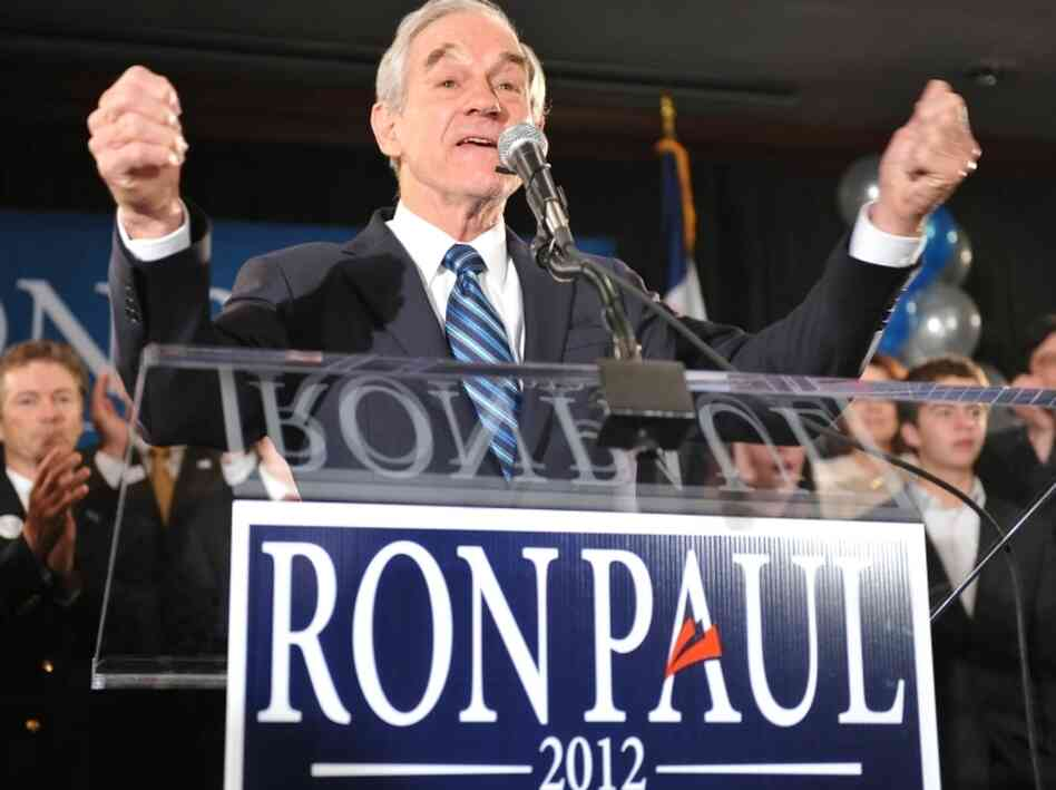 Republican presidential candidate, U.S. Rep. Ron Paul, R-Texas, greets supporters in Ankeny, Iowa after his third-place finish in the Iowa caucus.