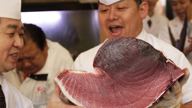 Sushi chefs of Kiyomura Co. hold a slice of a bluefin tuna near the Tsukiji fish market in Tokyo. The bluefin tuna caught off northeastern Japan fetched about $736,000 Thursday in the first auction of the year at the fish market. (AP)