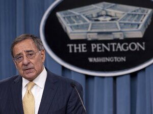Secretary of Defense Leon Panetta speaks about the Defense Strategic Review, outlining defense budget priorities and cuts, during a press brief