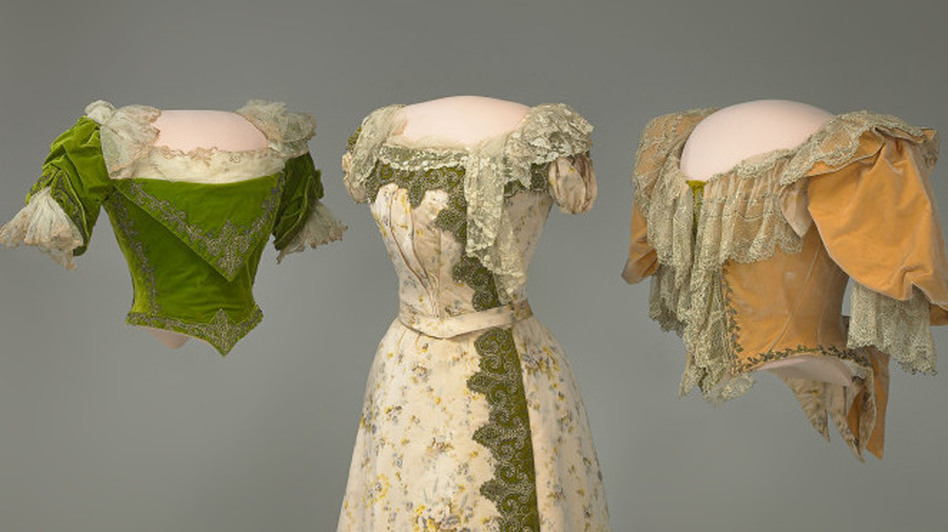 Grover Cleveland's wife, Frances, was a fashion icon during the late 1800s and was considered the Jackie Kennedy of her day. Her inaugural gown was more of a two-piece ensemble — an elegant floral chine skirt and a peach velvet bodice crafted by House of Doucet of Paris.  (Courtesy of the Smithsonian's National Museum of American History)