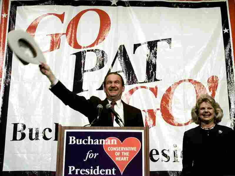 Pat Buchanan and wife Shelley acknowledge the crowd at a rally on March 6, 1996. Buchanan won the New Hampshire primary but lost the GOP nomination to Bob Dole.