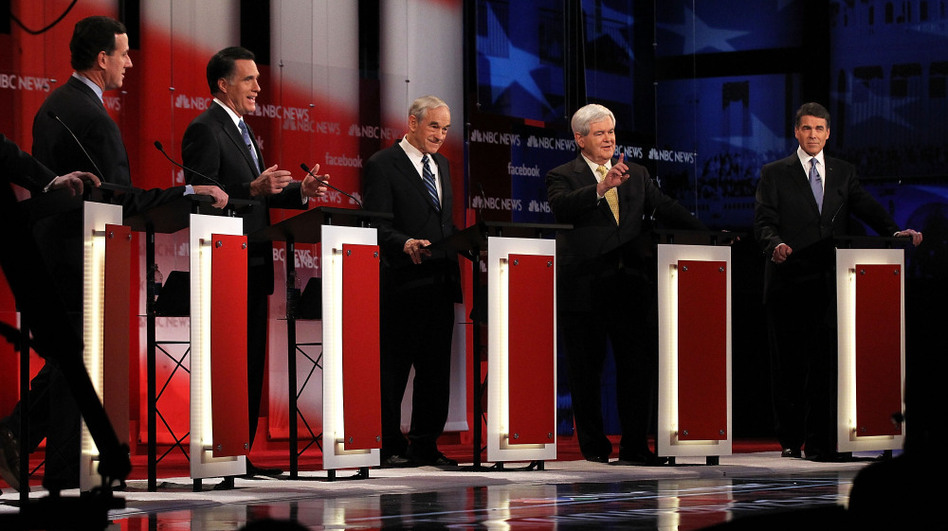 The Republican presidential candidates duke it out at the NBC News-Facebook debate on <em>Meet the Press</em> on Sunday. (Alex Wong/Getty Images)