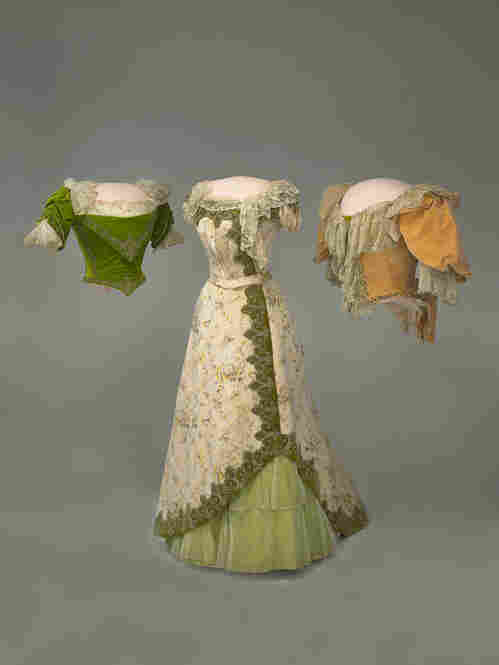 Grover Cleveland's wife, Frances, was a fashion icon during the late 1800s and considered the Jackie Kennedy of her day. Her inaugural gown was more of a two-piece ensemble — an elegant floral chine skirt and a peach velvet bodice crafted by House of Doucet in Paris.