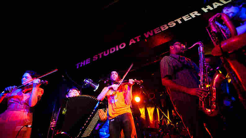 Debo Band performs during globalFEST at New York City's Webster Hall on Jan. 8.