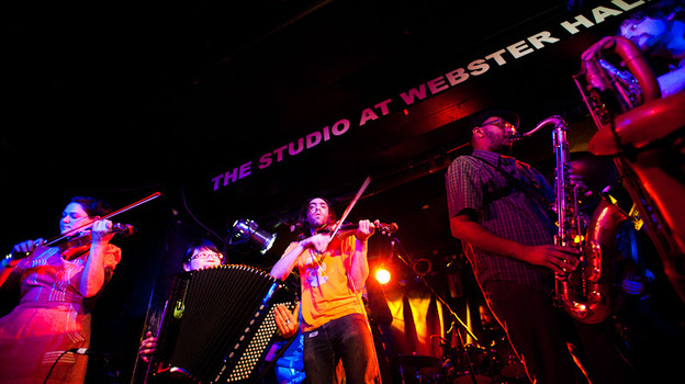 Debo Band performs during globalFEST at New York City's Webster Hall on Jan. 8. (Ryan Muir for NPR)