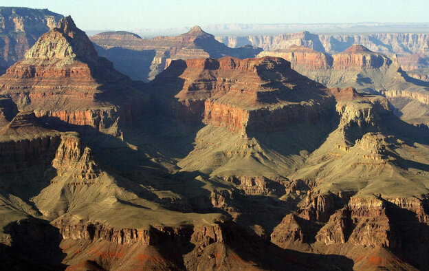 A view into the Grand Canyon from the South Rim in Arizona.