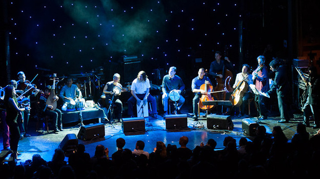 The Silk Road Ensemble performs during globalFEST at New York City's Webster Hall on Jan. 8. (Ryan Muir for NPR)