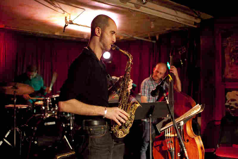 Saxophonist Steve Lehman performed with his trio of Matt Brewer (bass) and Damion Reid (drums).