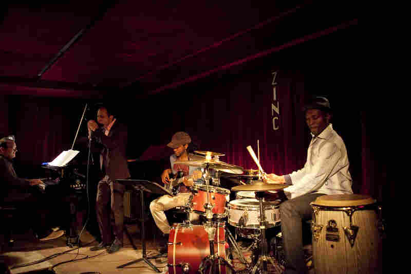 The harmonica player Gregoire Maret played with a quartet featuring Federico Gonzalez Peña on piano, Ben Williams on electric bass, and Clarence Penn on drums.