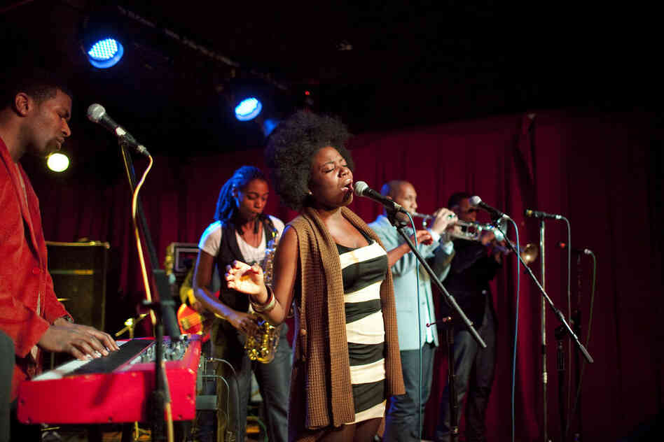 Vocalist Melanie Charles was featured in Soul Squad, the funk band of saxophonist Lakecia Benjamin (second from left).