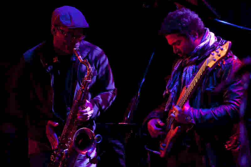 Saxophonist Ravi Coltrane (left), a last-minute addition to the lineup, performed in a trio with bassist Matthew Garrison. Their fathers, John Coltrane and Jimmy Garrison respectively, also played in a band together.