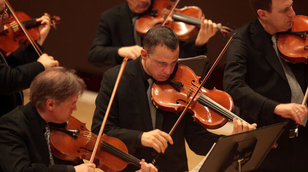 Strings perform Muse by Christopher Theofanidis during the second half of the Orpheus Chamber Orchestra The New Brandenburgs at the Spring for Music festival at Carnegie Hall in Manhattan, New York on May 06, 2011.