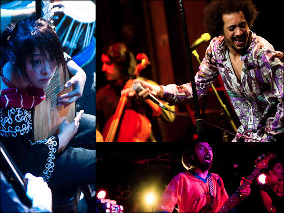 The Silk Road Ensemble (left), Yemen Blues (top right), M.A.K.U. Soundsystem.