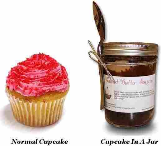 A cupcake and cupcake in a jar.