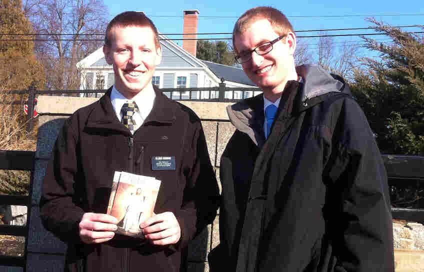 Elders Kyle Hodson (left) and Taylor Bayles are two Mormon missionaries in their 20s who have been navigating proselytizing and politics as they go door to door in New Hampshire.