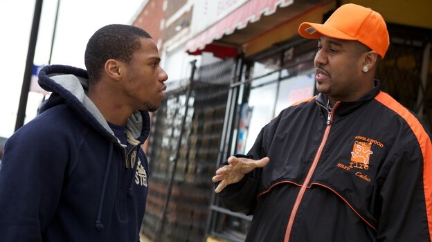 Violence interrupter Cobe Williams (right) and Lil Mikey (left) in Steve James and Alex Kotlowitz's The Interrupters.