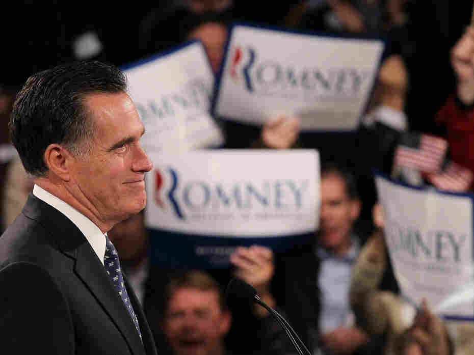 In his New Hampshire primary victory speech Tuesday, Mitt Romney chided GOP rivals for challenging his record as the former head of a private equity firm.