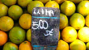Oranges for sale at a market in Rio de Janeiro, Brazil.