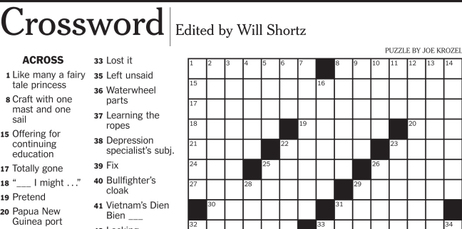 A New York Times crossword puzzle clue asking for a 5-letter word that means