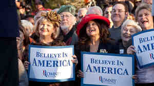 Supporters of Republican presidential candidate Mitt Romney laugh during a campaign event on Jan. 5 in Charleston, S.C.