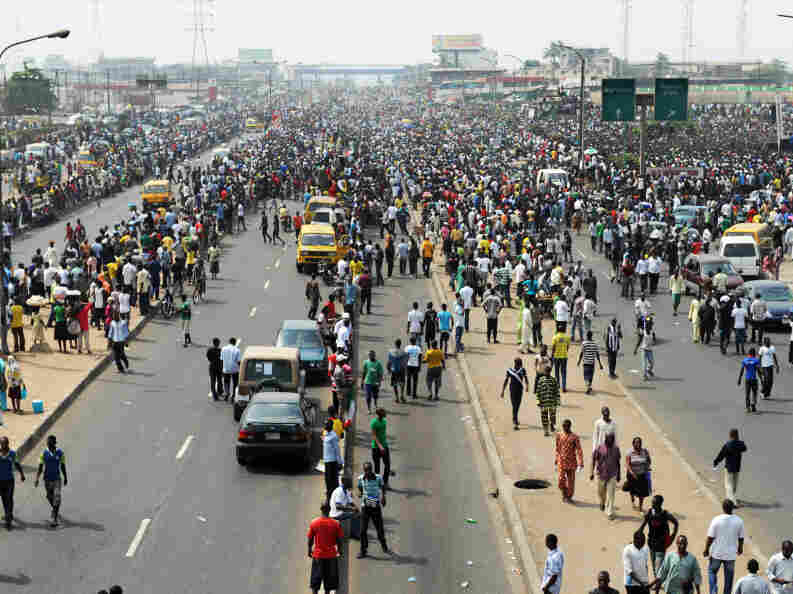 Thousands of protesters gather at a park in Lagos on Wednesday to protest the higher prices brought on by the removal of fuel subsidies.
