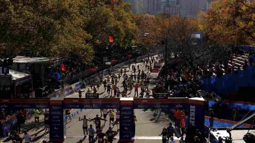 Runners approach the finish line of the New York City Marathon on Sunday, Nov. 6, 2011.