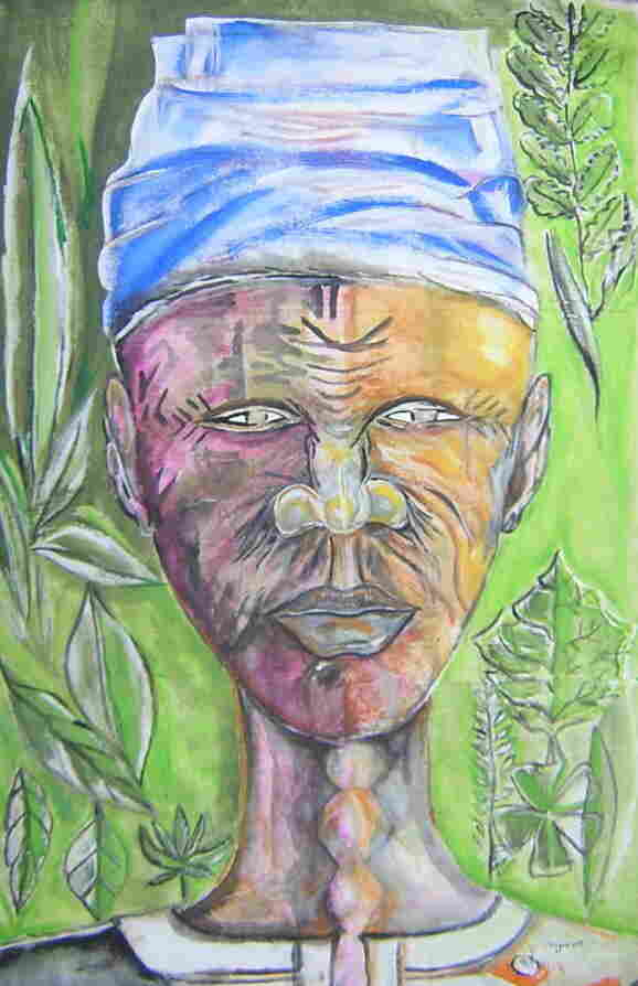 """A painting by Michelet """"Najee"""" Calice, one of the artists featured in the exhibit."""