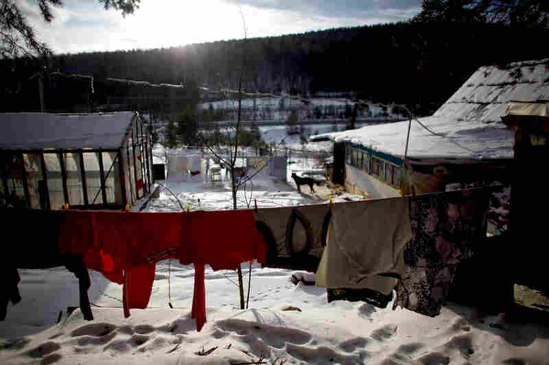 Laundry hangs out to dry in the winter sun. Few homes in Sagra have indoor plumbing.