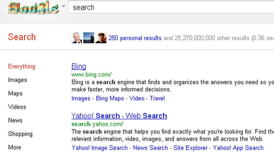 A screengrab shows Google's new search feature, in which results from a user's Google+ community are promoted at the top of the page.