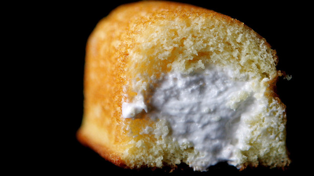 A Twinkie shows off its creamy filling in this file photo from 2005. A snack-cake sales slump is one reason Hostess Brands is seeking protection from its creditors. (Getty Images)