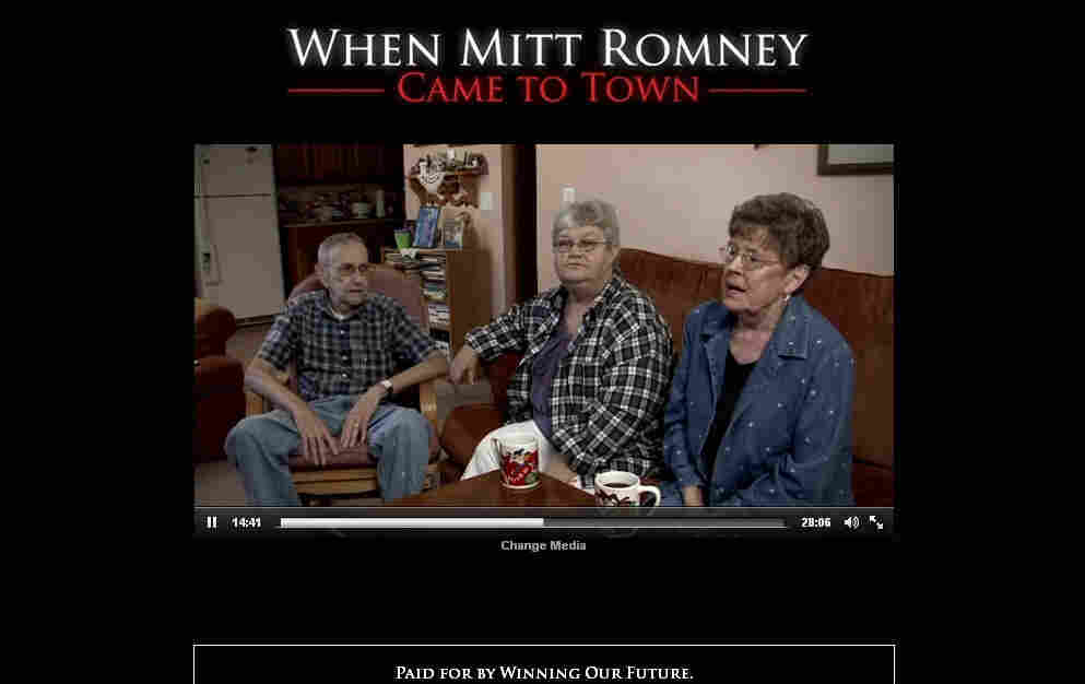 Screen shot from an anti-Romney video that accuses the GOP front-runner of corporate greed during his CEO days.