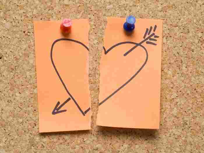broken heart on a sticky note