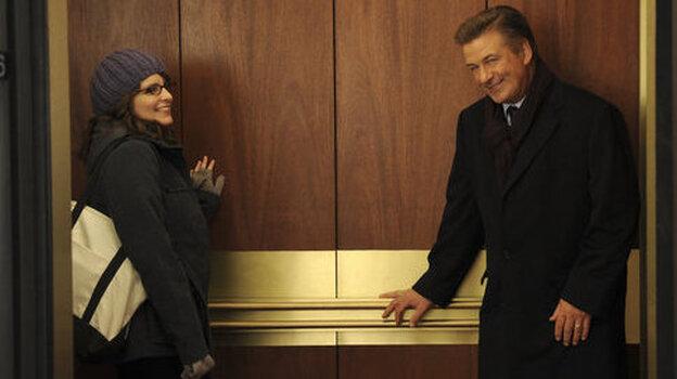 Tina Fey as Liz Lemon and Alec Baldwin as Jack Donaghy on NBC's 30 Rock.