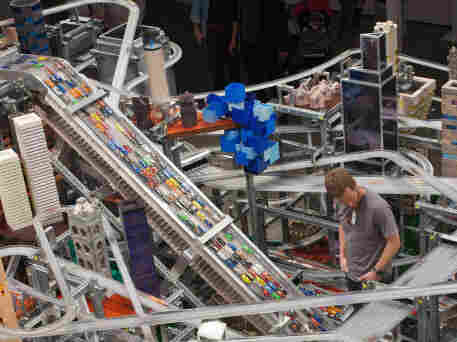 Chris Burden's sculpture Metropolis II requires a traffic controller, who watches for pileups on the highways.