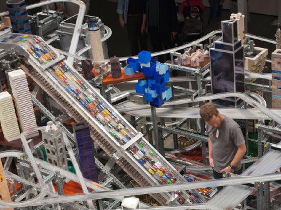 Chris Burden's sculpture <em>Metropolis II</em> requires a traffic controller, who watches for pileups on the highways.