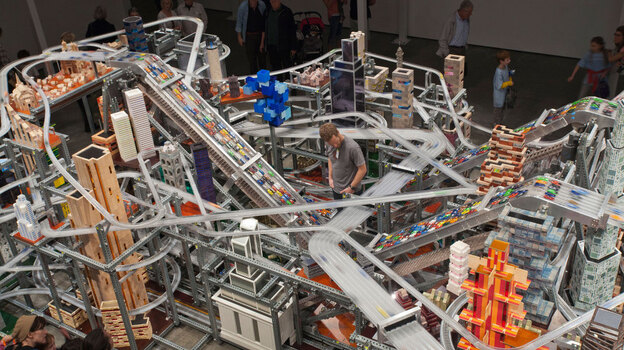 Chris Burden's sculpture Metropolis II requires a traffic controller, who watches for pileups on the highways. (Courtesy The Los Angeles County Museum of Art)