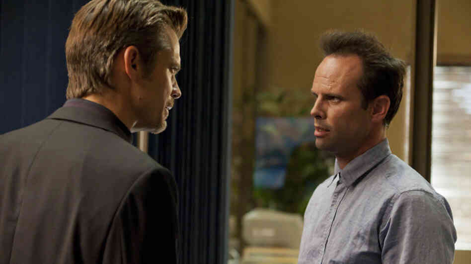 Timothy Olyphant (left) and Walton Goggins return for season three of Justified, along with a slew of guest stars including Carla Gugino and Neal McDonough.