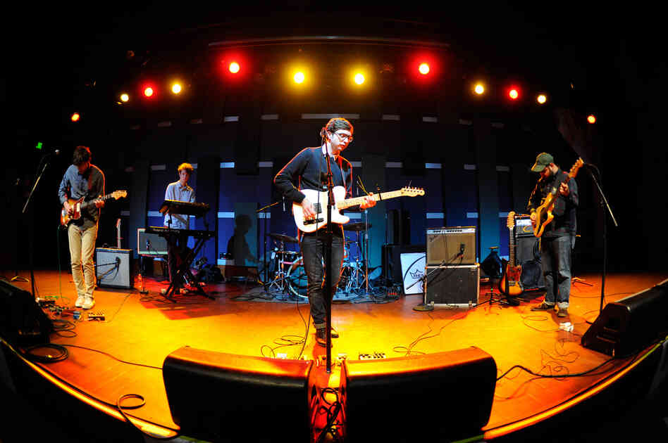 Our photographer took the fish-eye approach during this shot of Real Estate warming up before their show at World Cafe Live on Friday.