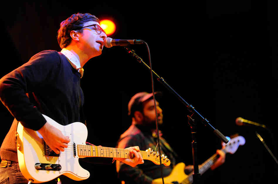 """Martin Courtney (left) and bassist Alex Bleeker perform """"It's Real."""""""