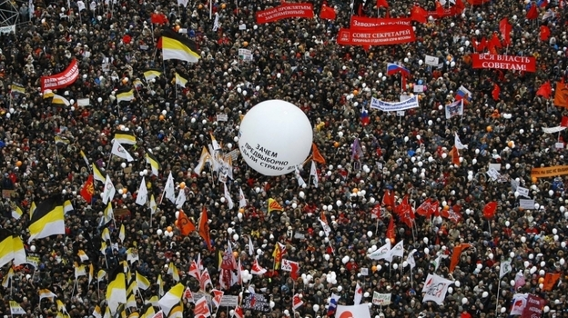 Relying on social media, Russian activists are attempting to organize more mass rallies against the Russian government. Here, protesters staged a huge rally in Moscow on Dec. 24, 2011, alleging vote rigging in parliamentary polls. (AP)