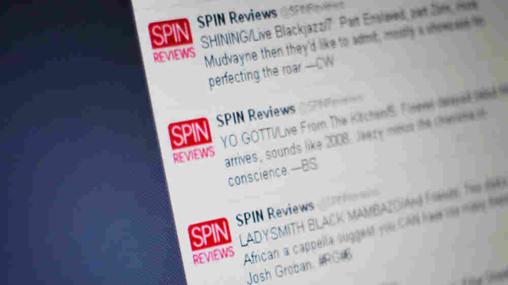 Spin Reviews' Twitter feed on Friday, Jan. 13, 2012.