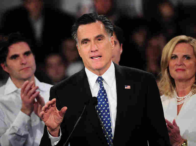 "Republican presidential hopeful Mitt Romney addresses a primary night victory rally in New Hampshire on Tuesday. Romney has accused President Obama of engaging in the ""politics of envy"" by focusing on income inequality."
