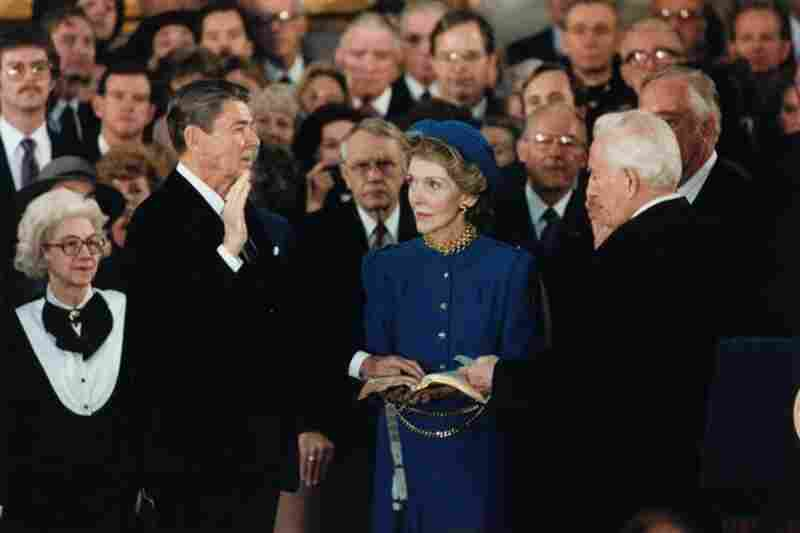 Reagan is sworn in for a second term in the rotunda at the U.S. Capitol in 1985. It was too cold to hold the ceremony outdoors.