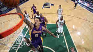 Matt Barnes goes up for the dunk at a January game against the Utah Jazz.