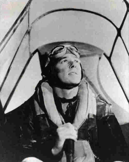 "After graduating from Eureka College, where he studied economics and sociology, Reagan began acting in Hollywood. Here he is seen flying a P-40 airplane in a still from the 1943 Army Air Force training film, ""Identification of a Japanese Zero."" He would go on to appear in 53 films."